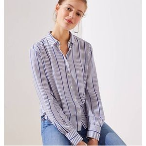 🆕 Blue & White Stripe Button Down Crossback
